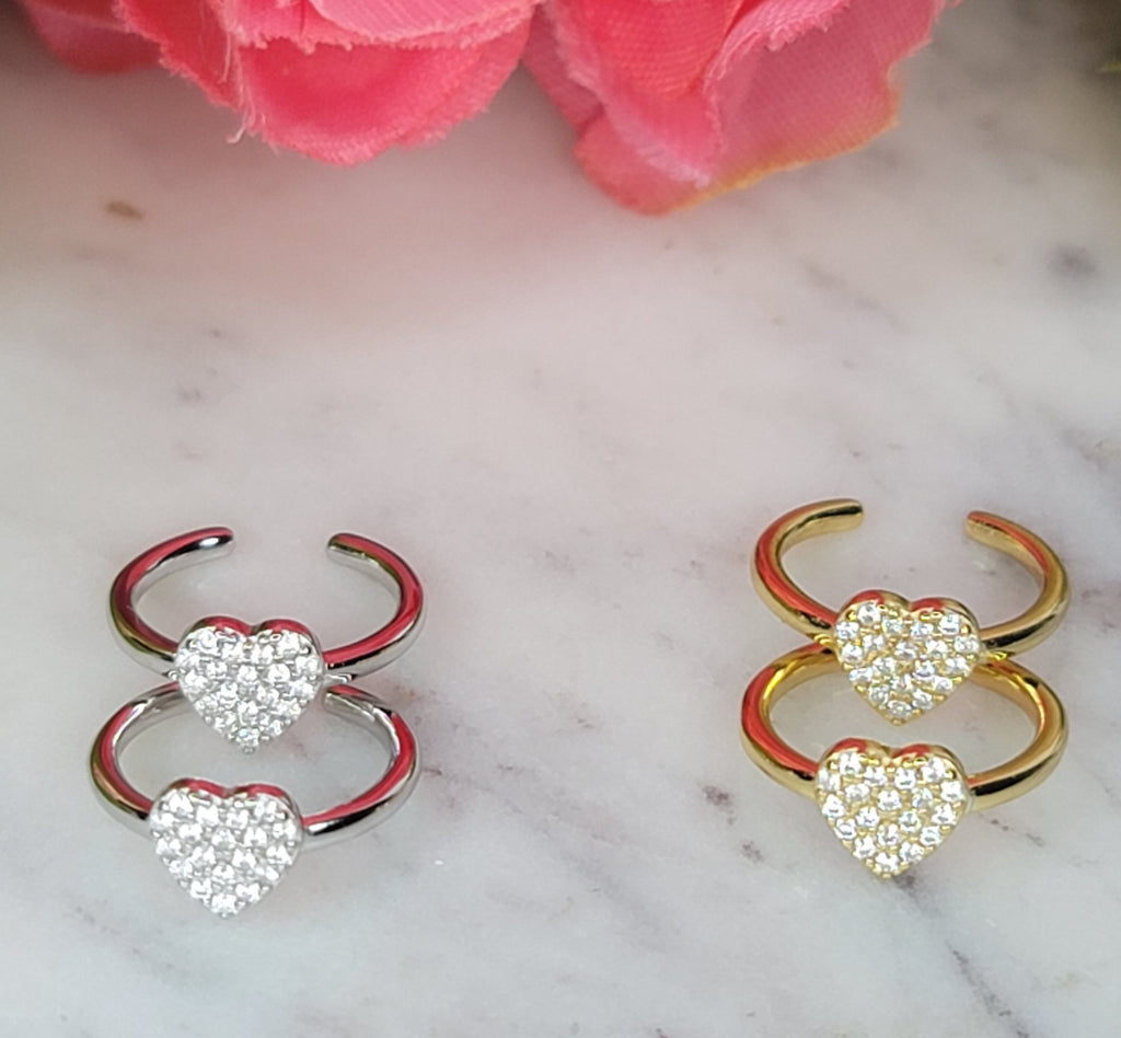 .925 sterling and CZ heart cuffs