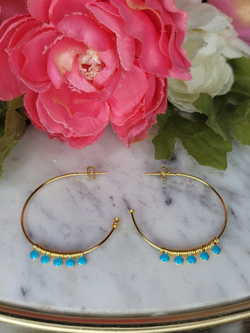 .925 Sterling silver with turquoise enamel detail hoop earrings