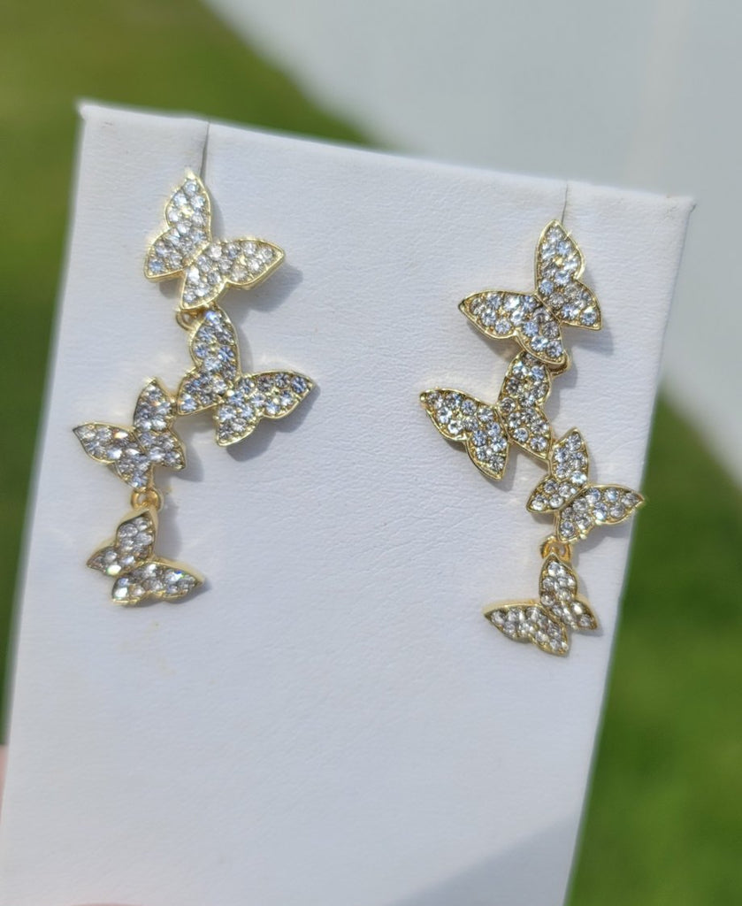 18k real gold plated and CZ butterfly earrings