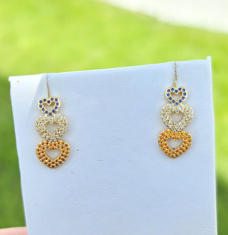 18k real gold plated and CZ  heart earrings