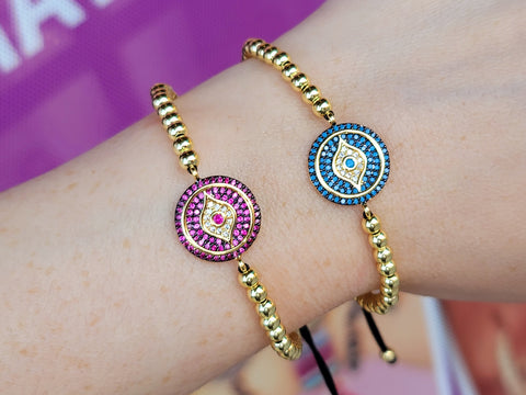 18k real gold plated and crystal evil eye bracelet