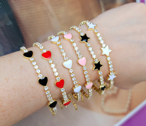 18k real gold plated and CZ enamel hearts and stars bracelet