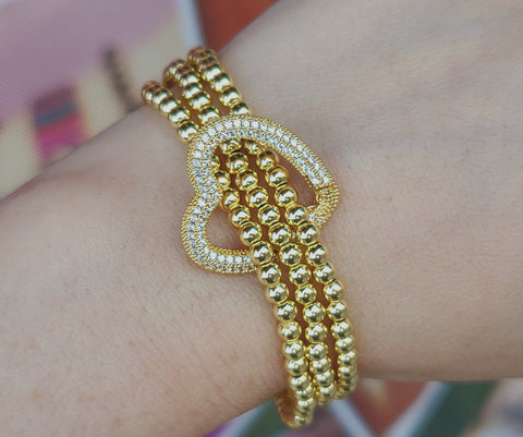 18k real gold plated and CZ heart bracelet