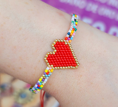 Fashion seed beads heart bracelet