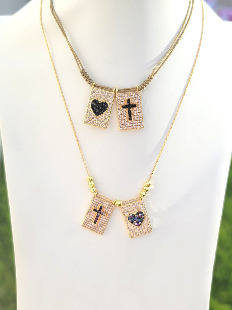 18k real gold plated heart and cross scapular necklace