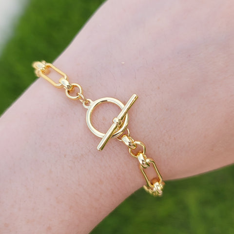 18k real gold plated minimalist chain bracelet