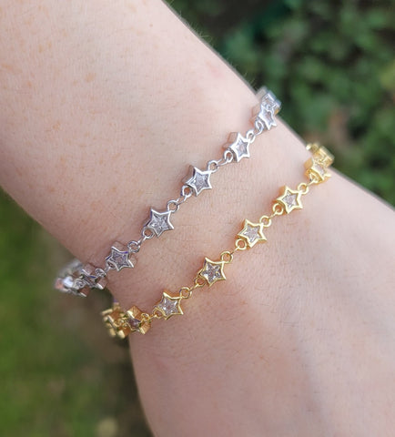 18k real gold plated and CZ star bracelets