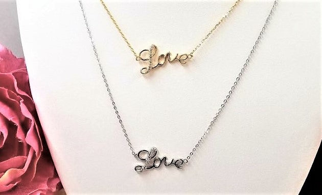 .925 Sterling Silver love pendant necklace