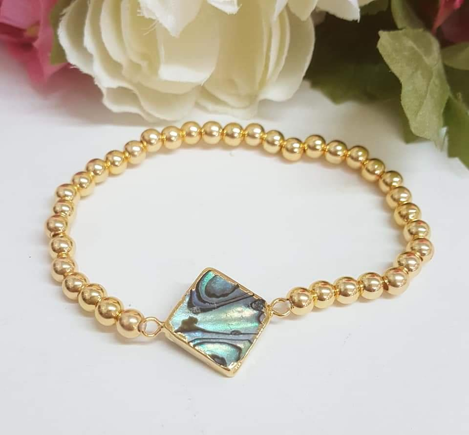 24K Gold Plated Abalone seashell bracelet