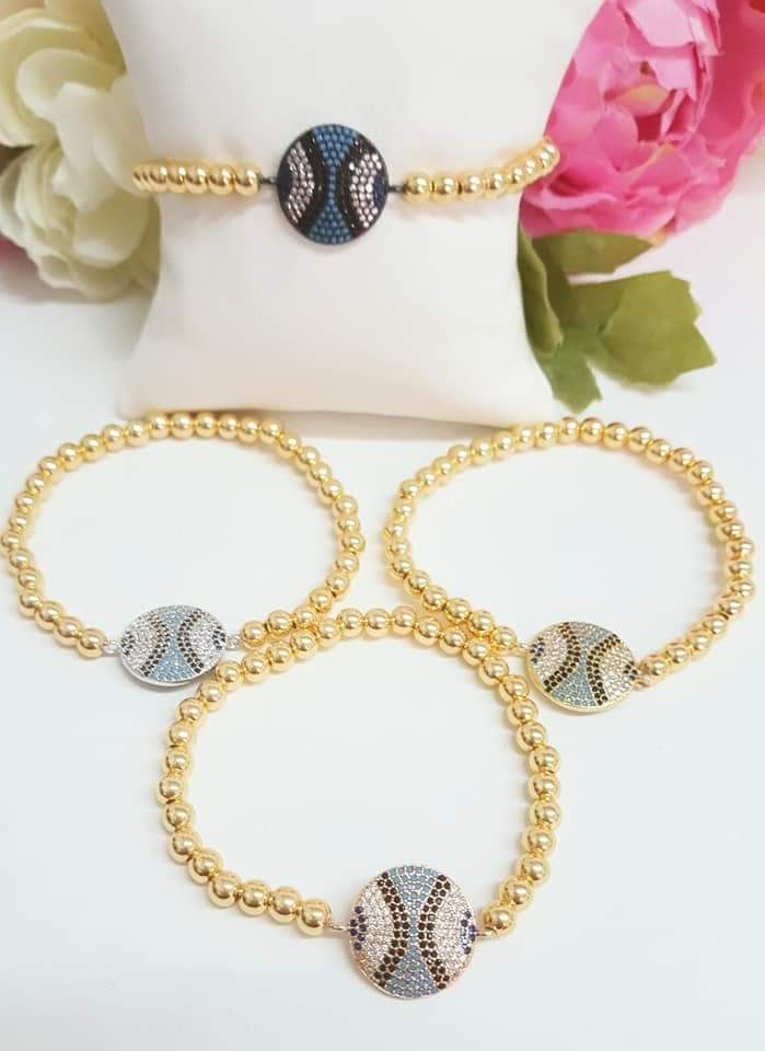24k Real Gold Plated elegant CZ paved bracelet