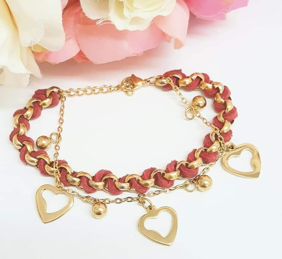 Stainless Steel romantic hearts bracelet