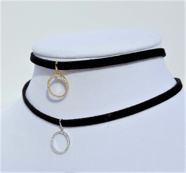 Sterling Silver and zirconias pendant choker