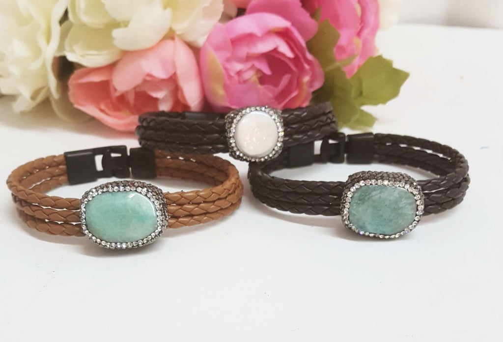 Leather and Paved Amazonite Natural Stone /  Freshwater Pearl Bracelet