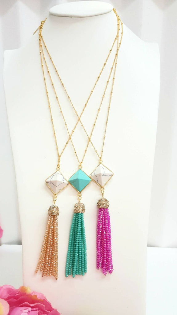 24K Gold Plated Crystal and Rhinestone Tassel Necklace