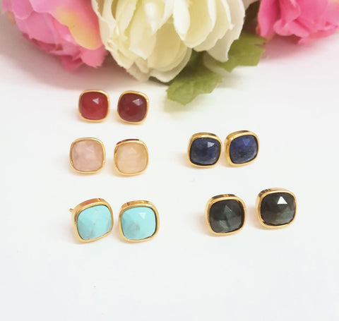 24K Real Gold Plated and Natural Stone Stud earrings