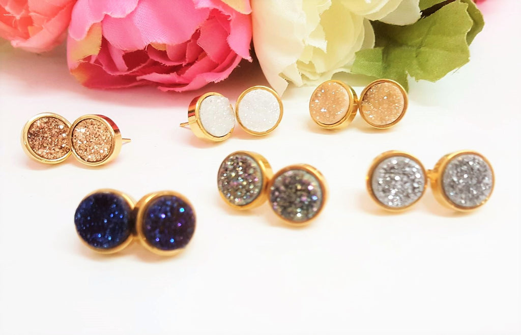 24K Real Gold Plated Quartz Druzy Stud Earrings