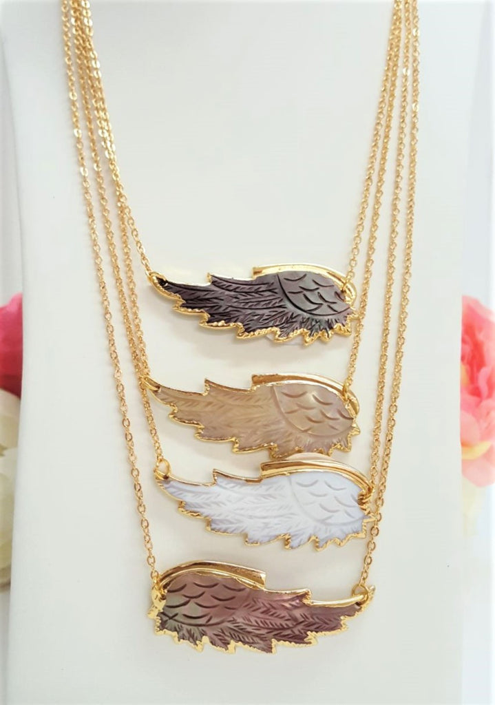 24K Real Gold Plated Seashell Feather necklace