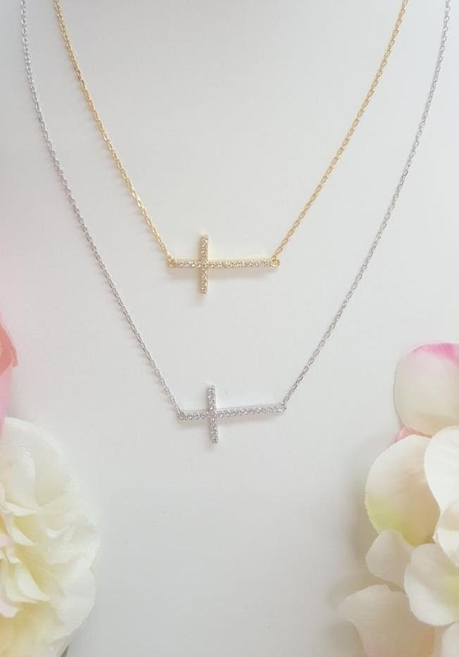 .925 Sterling silver CZ cross necklace