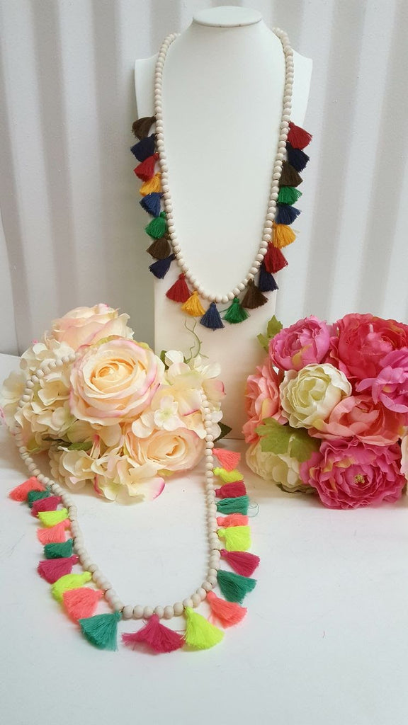 Bohemian multi-color tassel necklace