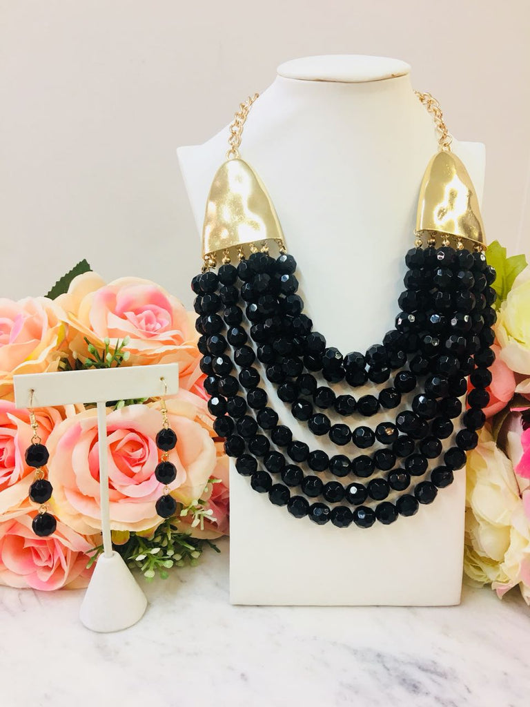 Fasion Black Bead Necklace With Earrings
