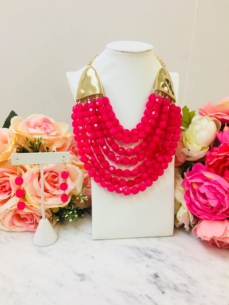 Fashion Fushia Bead Layer Neclace With Earrings