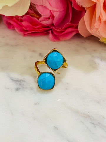 18K Real gold plated and turquoise stone ring