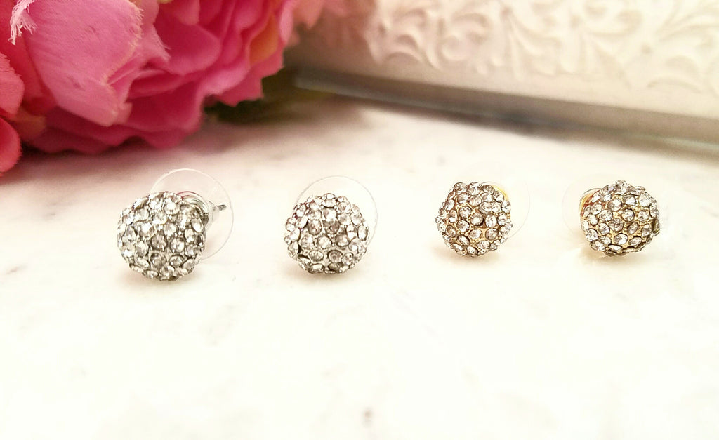 Fashion paved rhinestone stud earrings