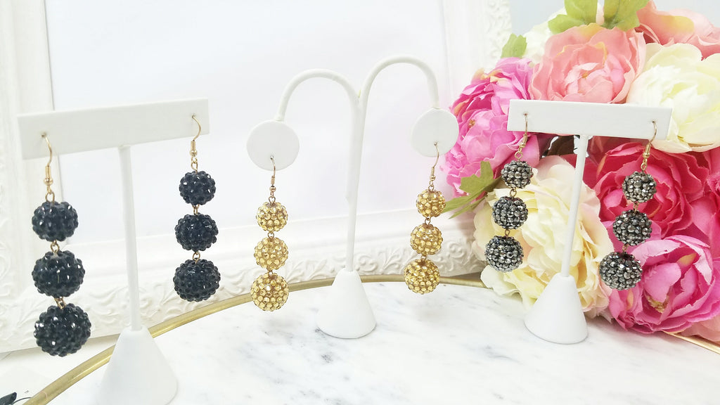 Fashion sparkling dropped lantern earrings