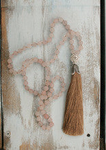 Rose Quartz long tassel beaded necklace