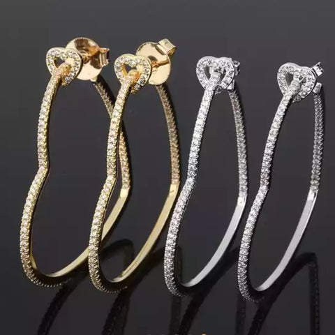 18k Real gold plated Heart Hoops