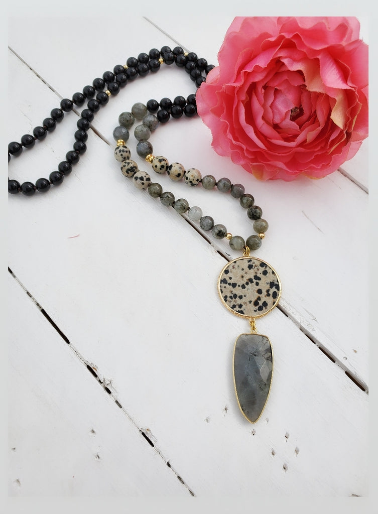 Natural Stone Black Onyx, labradorite and faceted gemstone Necklace