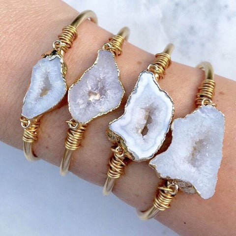 18K Real Gold Plated and Druzy Quartz Stone Bracelet