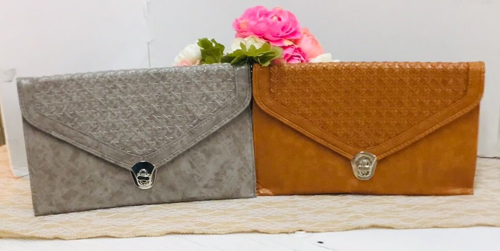 Fashion Envelope Clutch Woven Flap Handbag