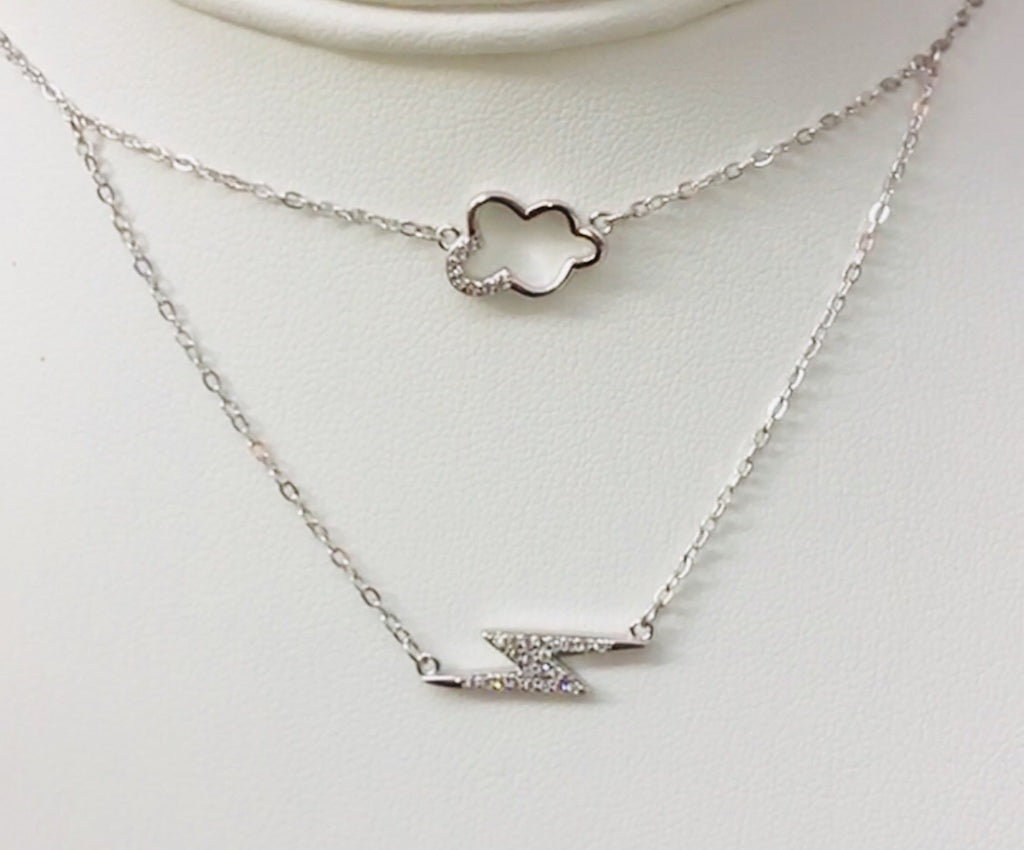 .925 Sterling Silver Cloud And Lightning Necklace