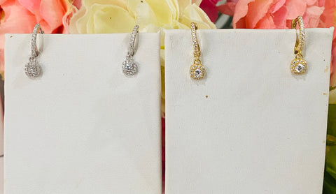 .925 Sterling Silver And Cz Dangling Hoop Earrings