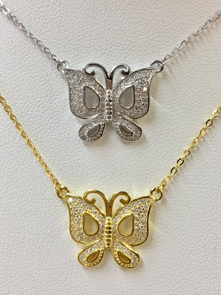 .925 Sterling Silver Butterfly Necklace