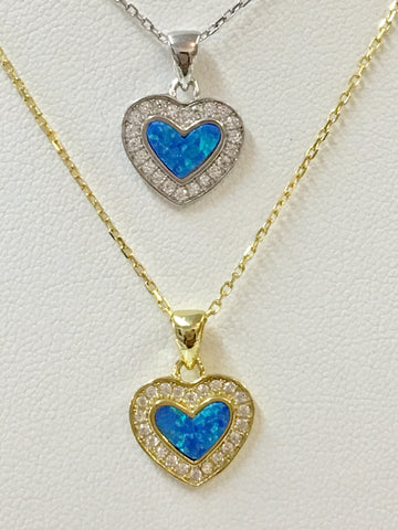 .925 Sterling Silver And Cz Zirconias Opal Heart Necklace