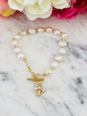 18k real gold plated and freshwater Pearl angel bracelet