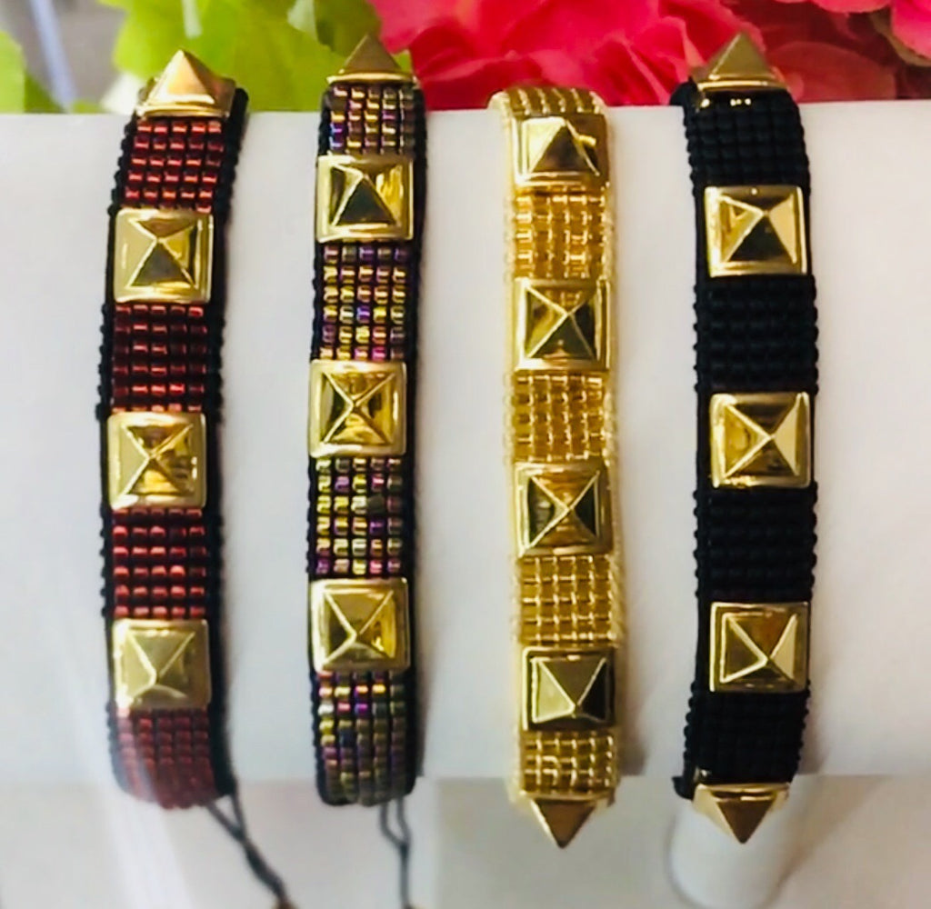 Gold Plated Seed Bead Punk Bracelets