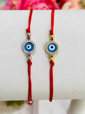 .925 Sterling Silver Evil Eye Adjustable Bracelet