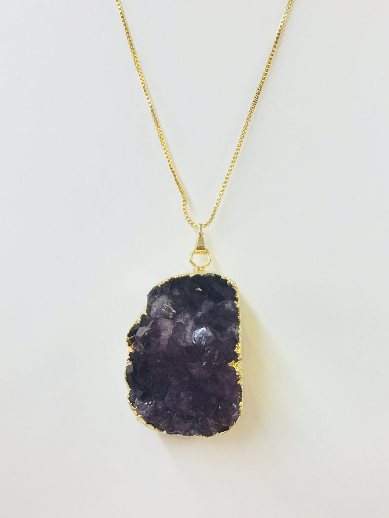 Brass Rhodium Plated And Druzy Quartz Necklace
