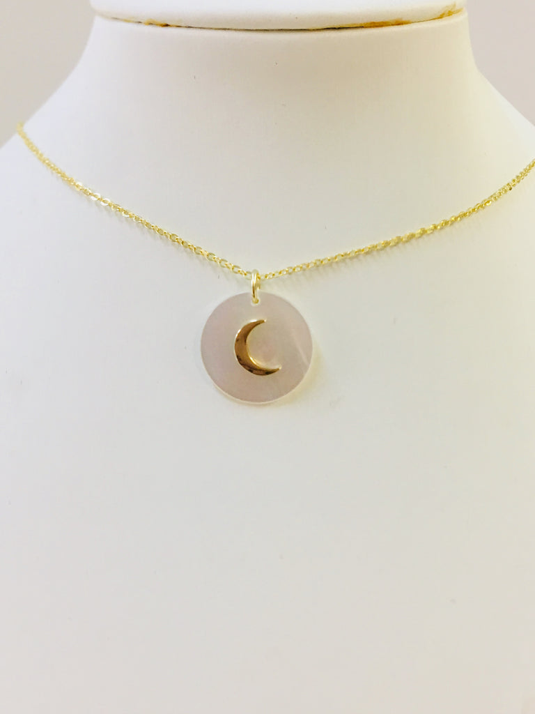 .925 Sterling Silver Seashell Moon Necklace