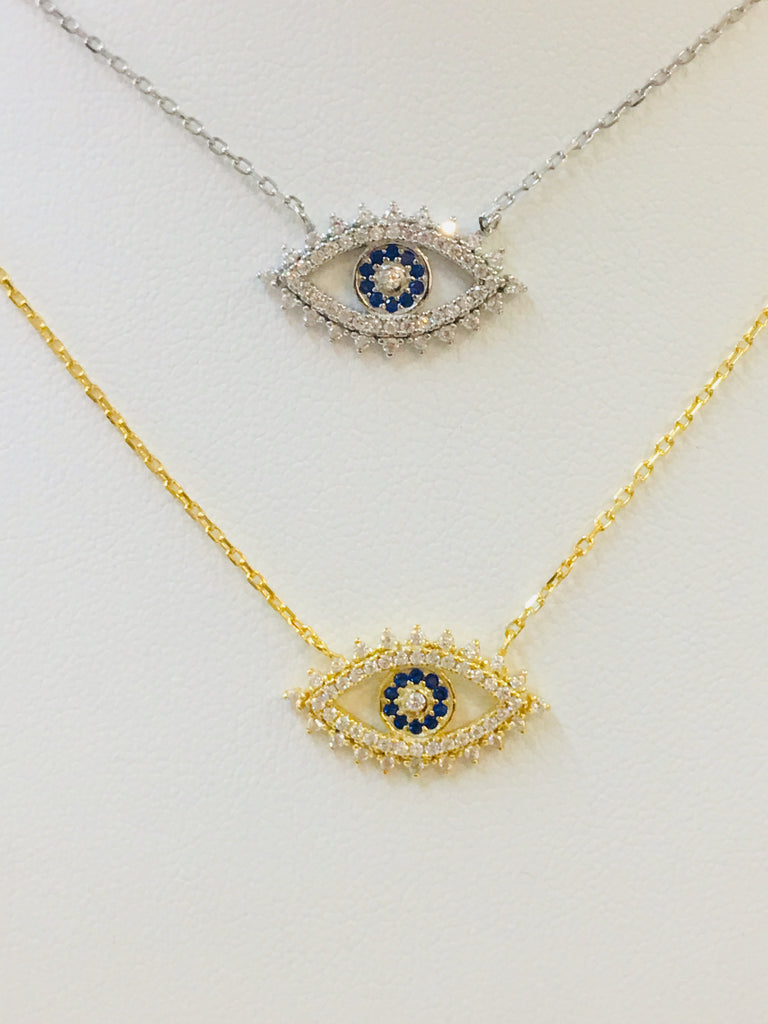 .925 Sterling Silver Evil Eye Necklace
