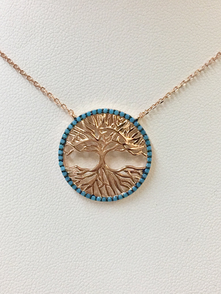 .925 Sterling Silver Turquoise Tree Of Life Necklace