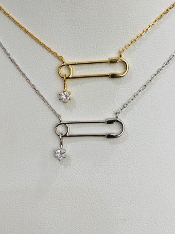 .925 Sterling silver safety pin necklace