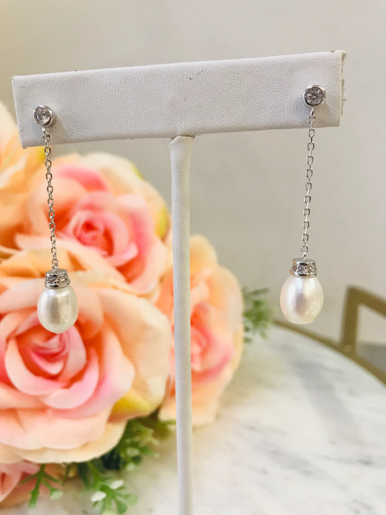 .925 sterling silver/fresh pearl earrings
