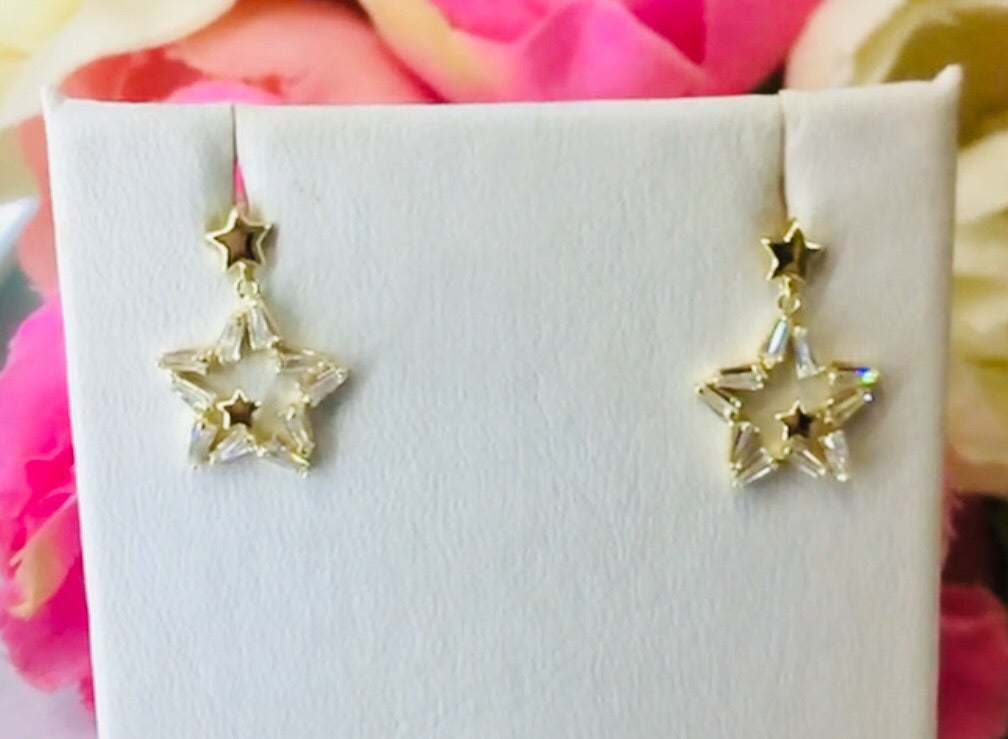 .925 Sterling Silver Star Earrings