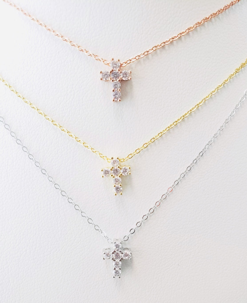 .925 Sterling Silver Little Cross Necklace