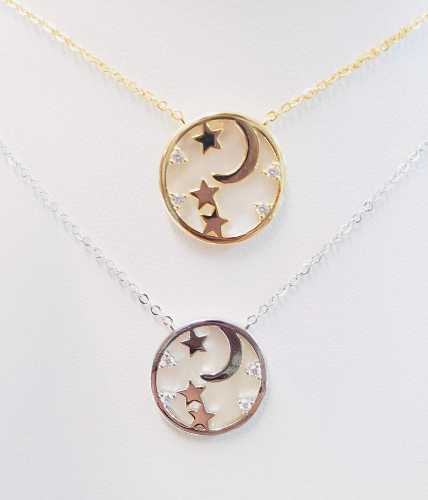 .925 Sterling Silver Moon And Star Necklace