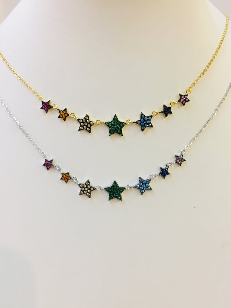 .925 Sterling Silver Multicolor Star Necklace